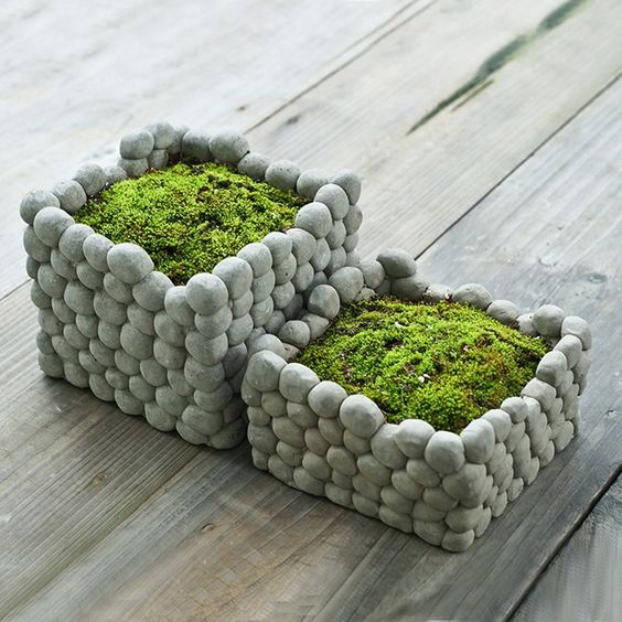 1Pcs Cool Square Stone Flower Pot Rough Style Cement Pottery Handmade Planter Small Garden Pots For Succulents Bryophytes Moss: