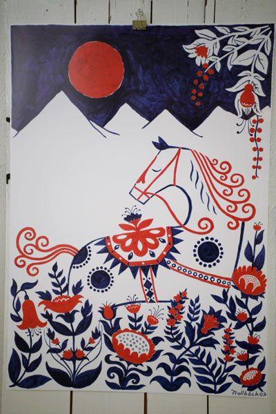 Dalahorse print by Henning Trollbäck