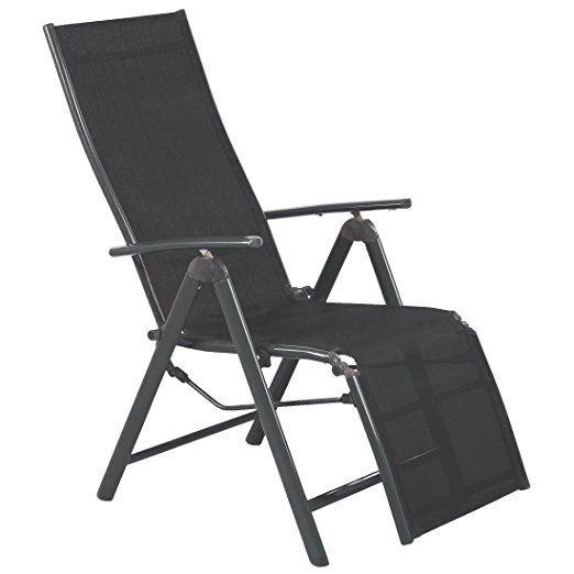 Amazon De Ultranatura Aluminium Relax Sessel Mit Armlehne Korfu Serie Anthrazit 73 X 60 X 112 Cm Outdoor Stuhl Liegestuhl Campingstuhl