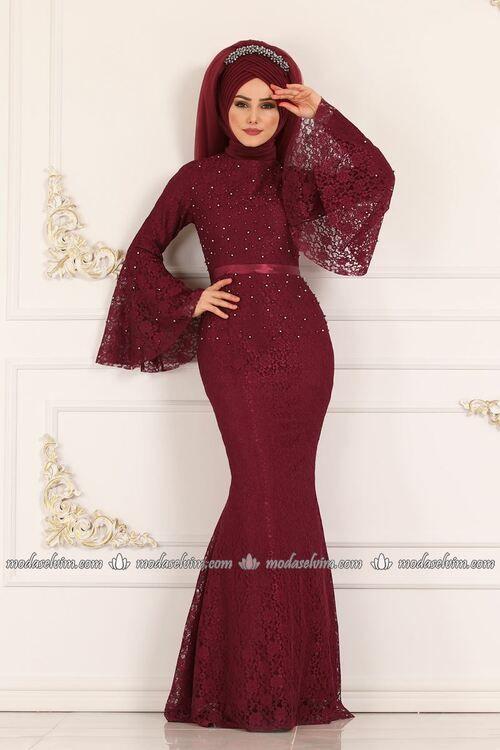 Modaselvim Abiye Volan Kol Balik Abiye 5120ay342 Bordo Elbiseler The Dress Moda Stilleri