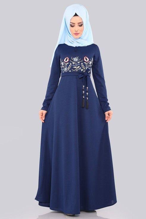 Modaselvim Elbise Nakisli Tesettur Elbise 552 L263 S Indigo Islami Moda Musluman Modasi Basortusu Modasi
