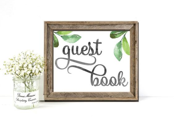 Guest Book Sign Wedding Printable Garden Greenery by PucciPaperie