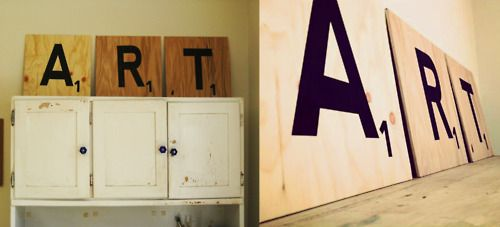 DIY Scrap Wood Scrabble Art Project-  This would take less than an hour!