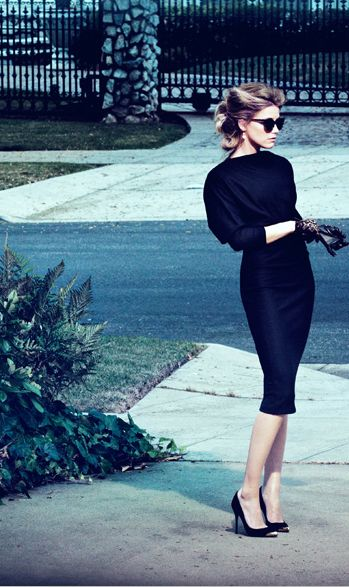 Black sunnies, black knit, black midi length pencil skirt, and black heels: