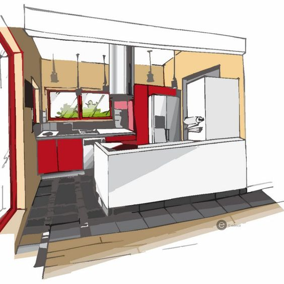 Cuisine rouge croquis architecture int rieure dominique for Dessin architecture interieur