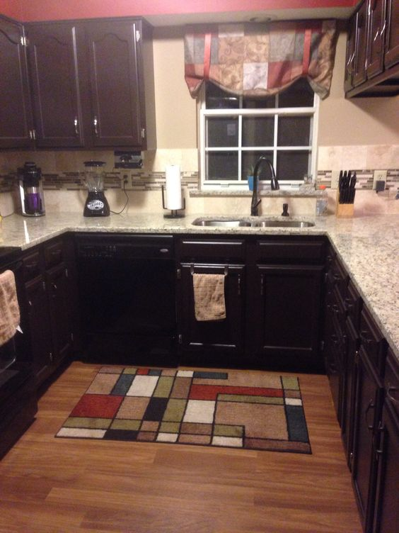 Granite Countertop Paint Menards : ... granite countertop, travertine backsplash with cappuccino glass mosaic