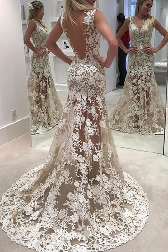 Open Back Sleeveless Wedding Gowns Sweep Train Lace Up Appliques Sheer Wedding Dress W96 Sheer Wedding Dress Sweep Train Wedding Dress Wedding Dress Train