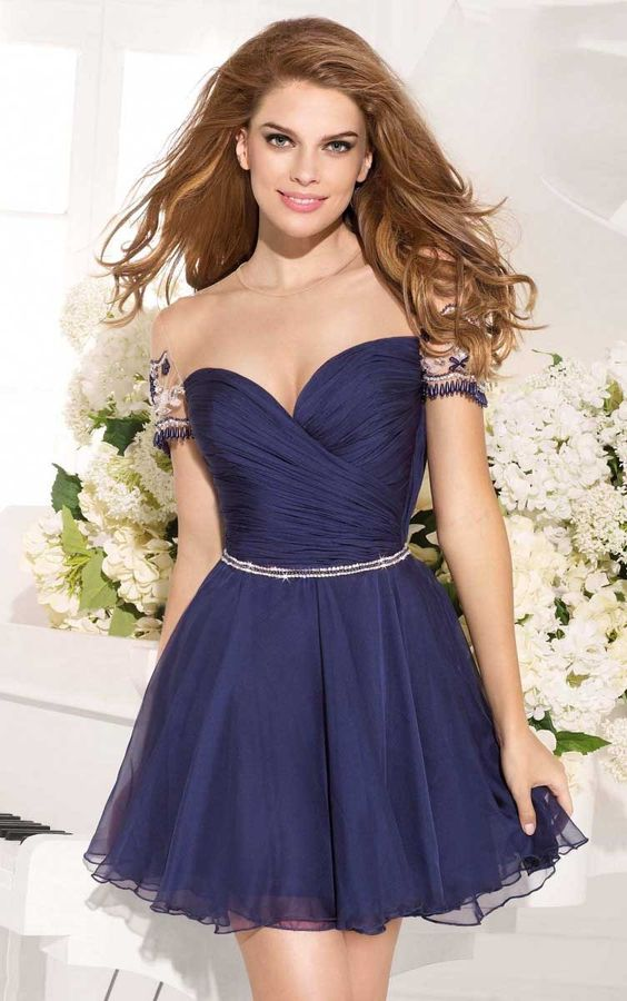 Chic Illusion Bateau Neck Short Sleeved A-line Chiffon Prom Dress: