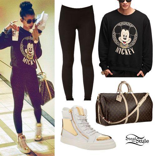 Zendaya: Mickey Sweater, Gold Toe Sneakers