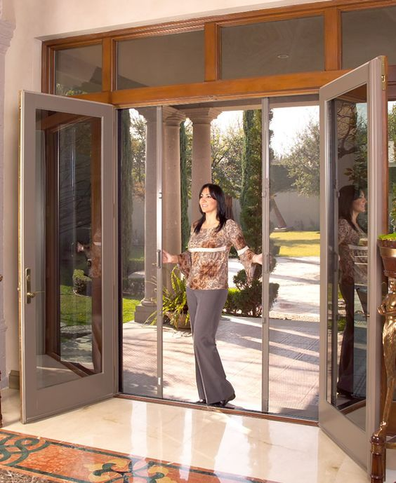 Image Result For Folding Screen For 12 Foot Slider Door French Doors Exterior French Doors With Screens Sliding Screen Doors