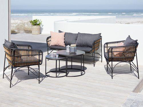 Loungeset Gjerlev 4 Persoons Naturel Jysk Outdoor Furniture Furniture Outdoor Furniture Sets