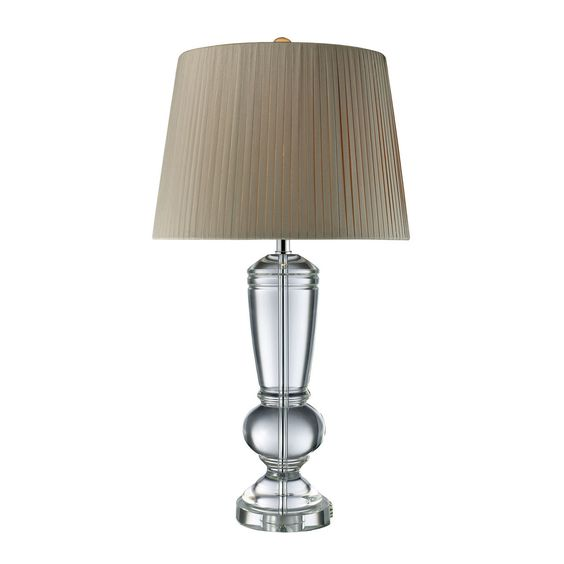 Castlebridge Table Lamp In Clear Crystal With Light Grey Shade D1811