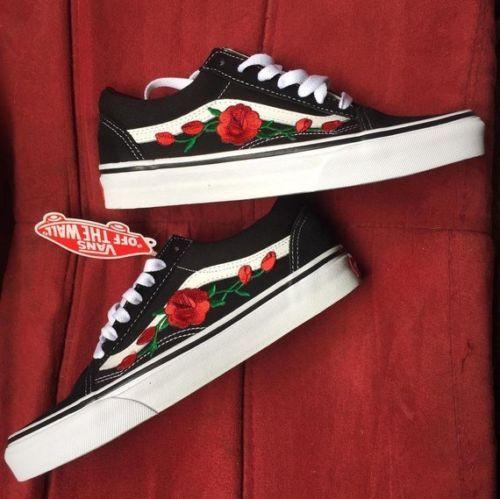 New Custom Vans Old Skool Skateboarding Red Rose & Pink Rose