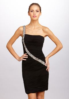 Black Asymmetrical Rhinestone Design Cocktail Dress