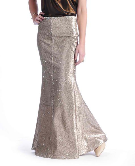line dot sequin mermaid maxi skirt shop