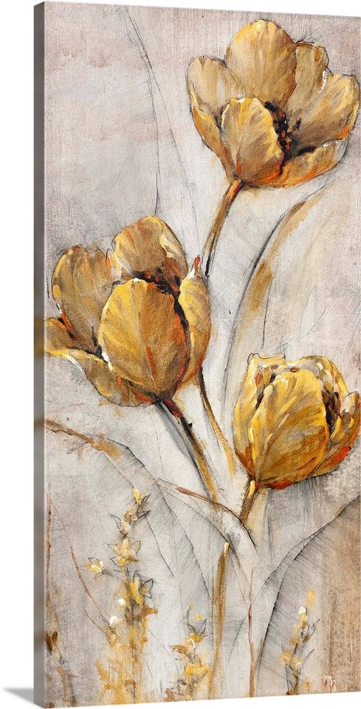 Golden Poppies On Taupe I In 2020 Art Flower Drawing Art Painting