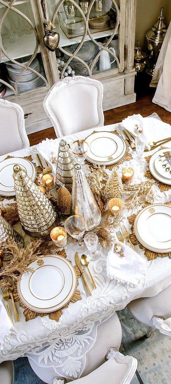 White Christmas Decorating Ideas White Christmas Decor Gold Christmas Decorations Christmas Tablescapes Elegant