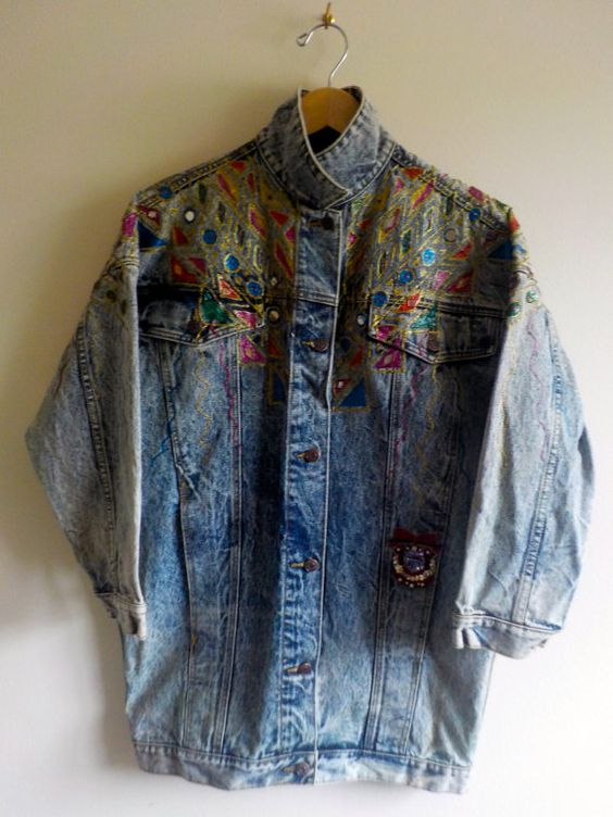 EMBELLISHED DENIM JACKET unique vintage acid wash heavy weight ...
