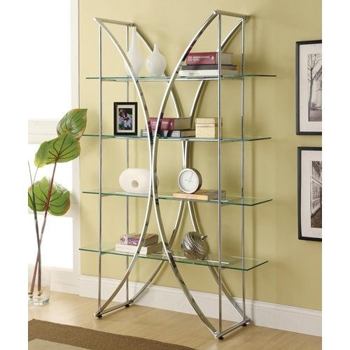 "Description Dimensions More Info Bookcases Chrome Finish Bookshelf w/ Floating Glass Shelves Length- 48""Width- 16""Height- 72"" Questions? Please visit our Showroom, Call Us or send us an Email. Please note:..."