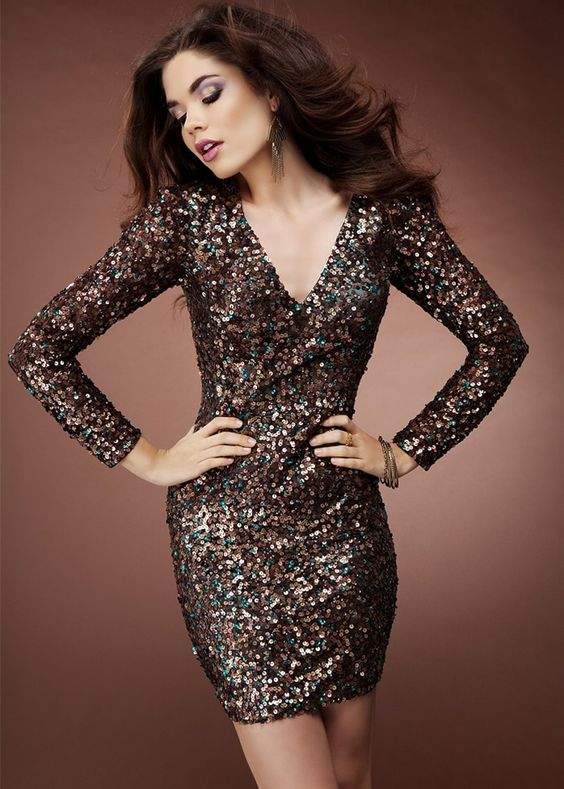 Scala 47618 Sparkly Short Long Sleeve Brown Sequin Dress  Holiday ...
