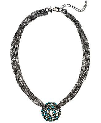 ABS by Allen Schwartz Necklace, Hematite-Tone Chain and Glass Crystal Necklace