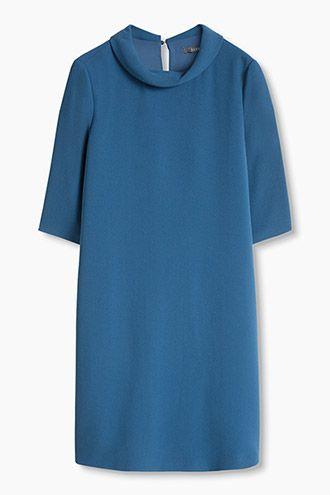 Esprit / Crêpe jurk met omgeslagen kraag