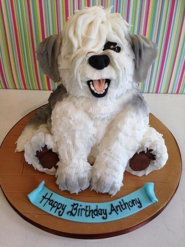 Old English Sheepdog puppy cake by Richards Cakes