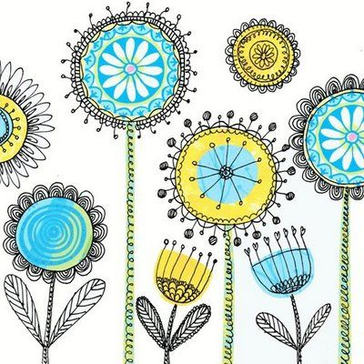 print & pattern: DESIGNER - ellen crimi trent - use my circle design stamps for middle then doodle
