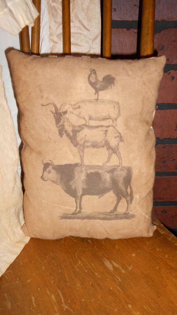 Farm Animal Stack Feed Sack Pillow by DownOnCrippleCreek on Etsy, $9.99