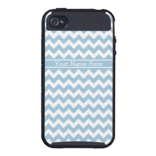 Custom iPhone 4 Cargo Case Blue and White Chevrons iPhone 4/4S Cover