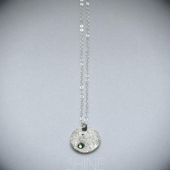 Mini Fingerprint Charm Necklace by shopSHINElife on Etsy