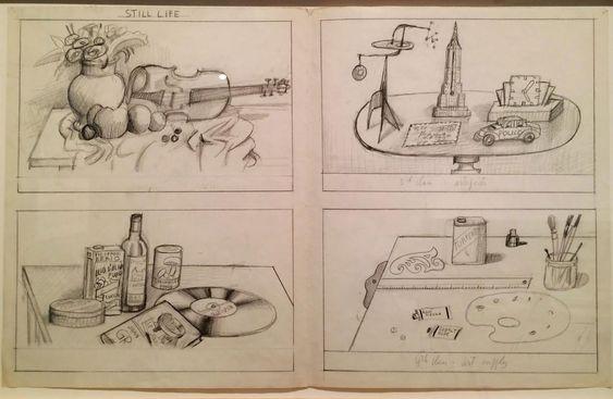"Saul Steinberg, ""Still Life"" (1980–81), graphite on folded paper, 14-1/2"" x 23"""