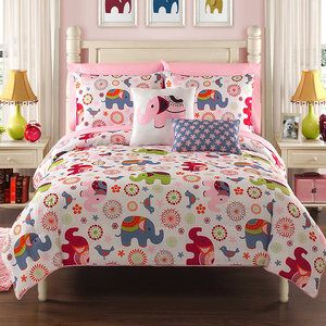 Pink  Twin Bedding with elephant | ELEPHANT-REVERSIBLE-TWIN-COMFORTER-SET-BED-IN-A-BAG-TEEN-GIRLS-NEW ...