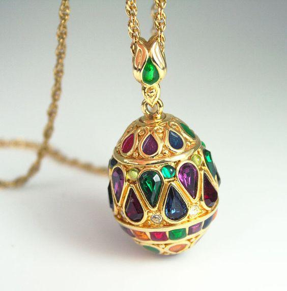 Vintage joan rivers jewel tone rhinestone enamel egg for Joan rivers jewelry necklaces