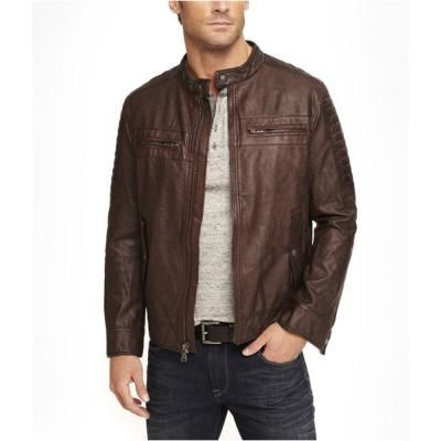 Leather Biker Jacket Brown Large | Shops, Brown leather and Dark ...
