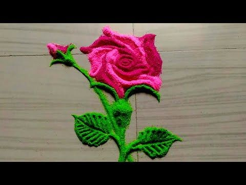 Easy Quick Rose Flowers Rangoli Design Small Rangoli Youtube Rangoli Designs Rangoli Designs For Competition Free Hand Rangoli Design