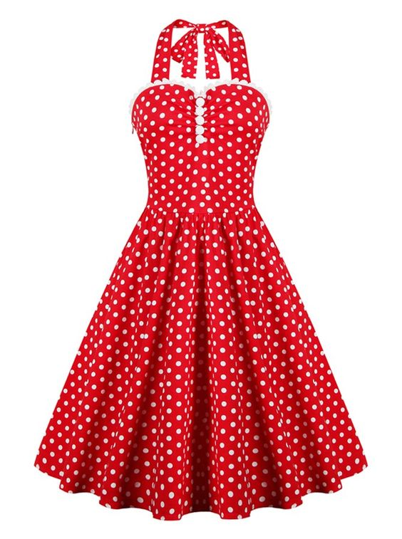 50s Red Halter Polka Dots Vintage Swing Party Dress