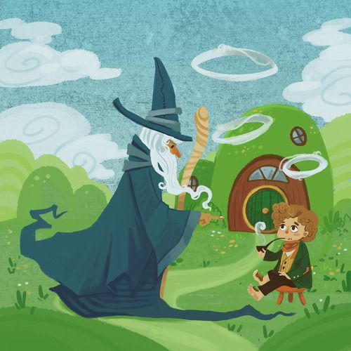 """Cute children's illustration of the """"Good Morning"""" scene. :)"""