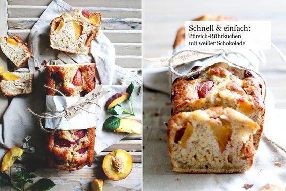 Schnell & einfach: Pfirsich-Rührkuchen mit weißer Schokolade