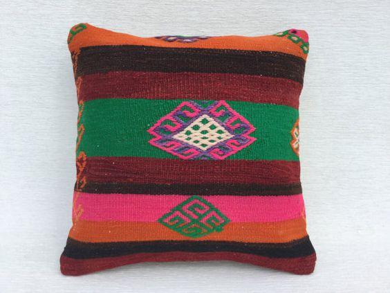 16 x 16 Zoll Vintage Dekorative Kissen, Couch Kelim Kissen, handgemachten bunten Kissen, Home Living, türkische Decor Kelim Kissen 40 x 40 cm,