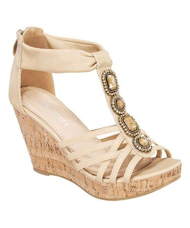 Look what I found on #zulily! Beige T-Strap Embellished Wedge Sandal #zulilyfinds