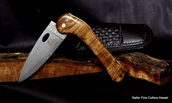 130mm folding small chef knife hand forged vg10 damascus blade curly hawaiian koa wood handle. Black Bedroom Furniture Sets. Home Design Ideas