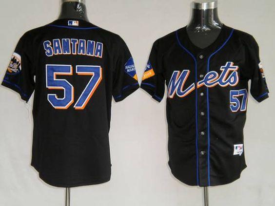 Mets #57 Johan Santana Embroidered Black MLB Jersey!$21.50USD