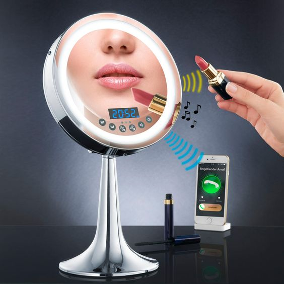 Illuminated Multimedia Mirror With Bluetooth speaker, radio, hands-free function, clock & sensor-controlled LED lighting. No cable.