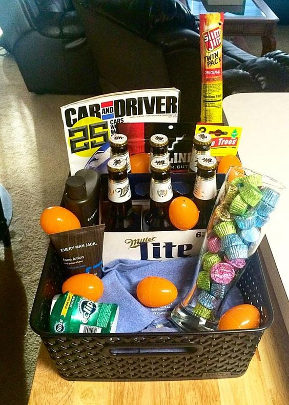 Non candy spring fun easter basket sick of giving the kids an diy easter basket for him boyfriend husband fiance holiday negle Image collections