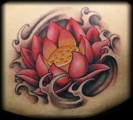 Lotus Tattoo With Water - rounder curves and lots of bright blues for the water, different middle of flower and brighter yellows and pinks. Left top of shoulder.