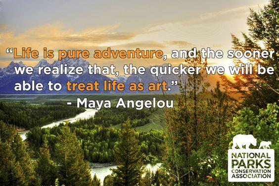 "In memory of Maya Angelou. ""Life is pure adventure"""