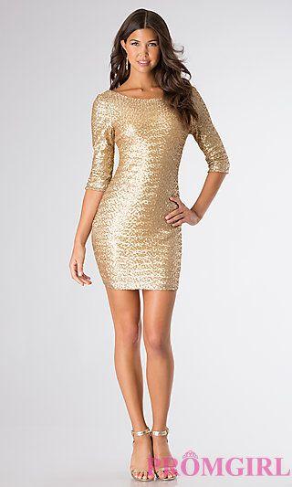 short gold sequin dress - Dress Yp