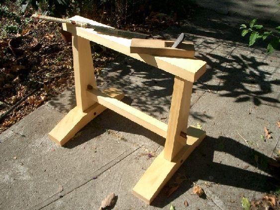 "Sawhorse: Deborah Greene, Alaskan Yellow Cedar, Brazilian rosewood wedges, 27"" x 22"" x 24"", oil & beeswax finish."