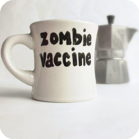 Zombie Vaccine Funny Mug coffee tea cup diner mug black white hand painted